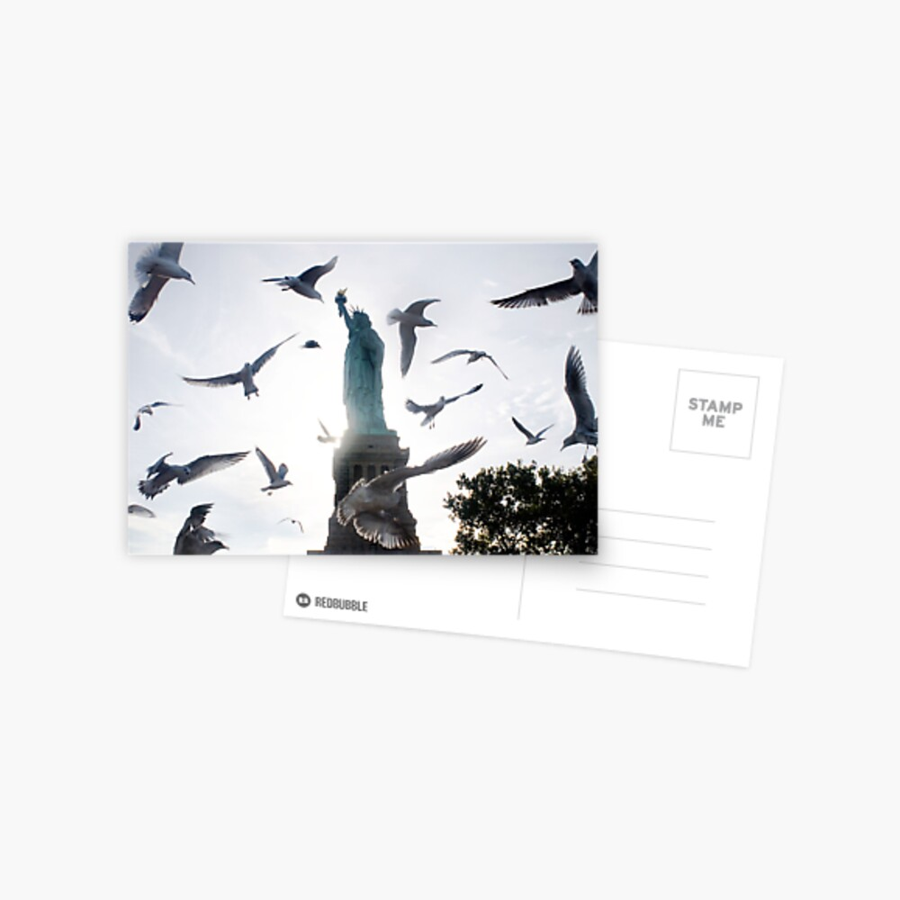 Statue of Liberty with Birds: NYC Postcard