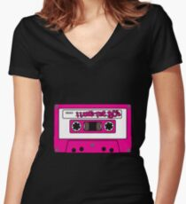 I love the 80's - pink tape Women's Fitted V-Neck T-Shirt