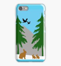 Winter scene with snow, bunnies, trees, and birds iPhone Case/Skin