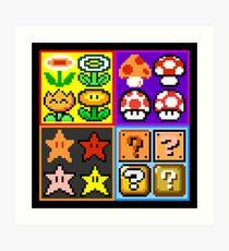 Mario Power-Up Evolution Art Print