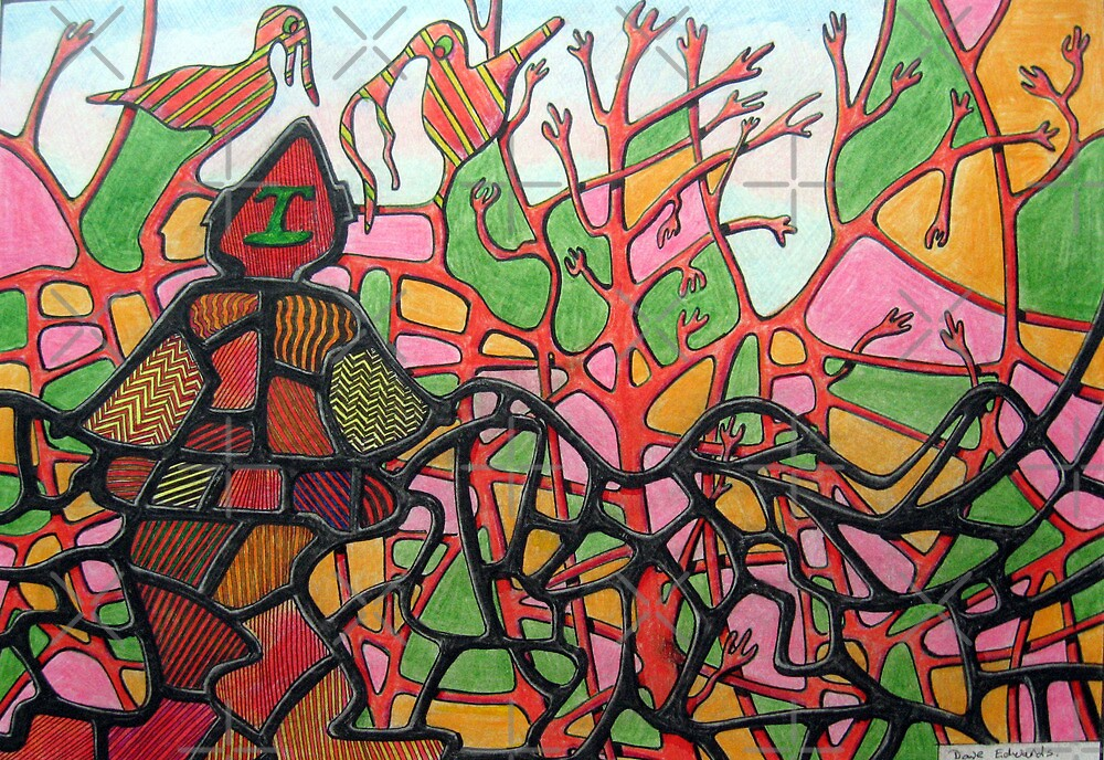 345 - TANGLETOWN - DAVE EDWARDS - COLOURED PENCILS & INK - 2012 by BLYTHART