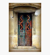 Rusty old door in Art Deco building Photographic Print