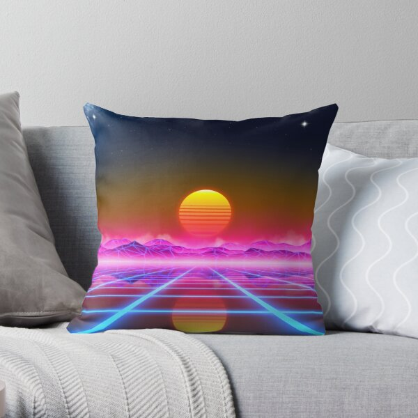 Synthwave landscape Throw Pillow