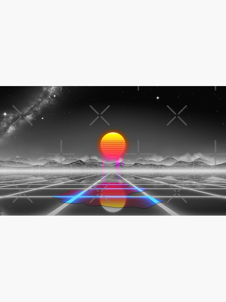 Dripping colored sun in a synthwave landscape by GaiaDC