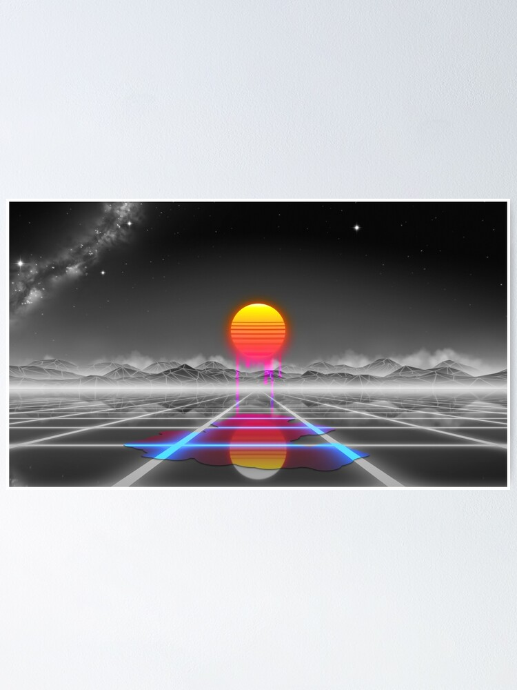 Alternate view of Dripping colored sun in a synthwave landscape Poster