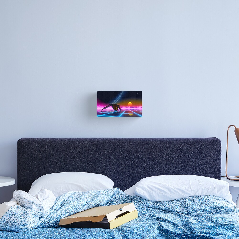Sunglasses in a synthwave landscape Canvas Print