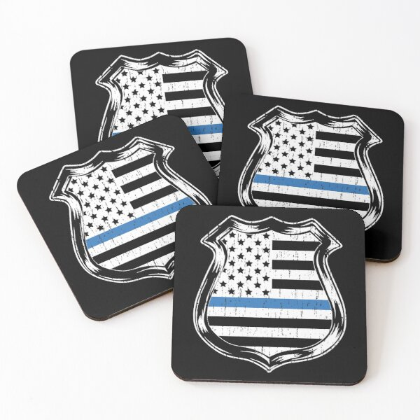 Thin Blue Line American Flag Police Badge Law Enforcement Coasters (Set of 4)