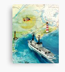 USCGC CHASE Helicopter Lighthouse Map Cathy Peek Metal Print