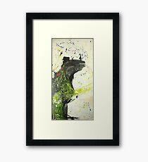 Bear tries but his hands tell lies Framed Print