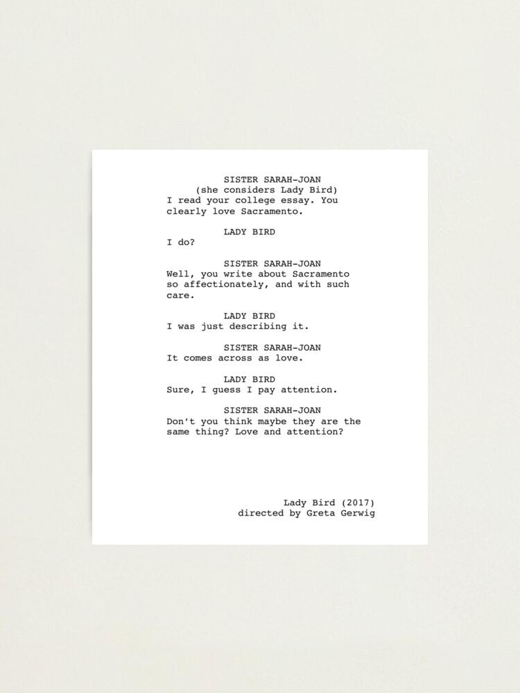 Alternate view of Lady Bird Script Excerpt Photographic Print