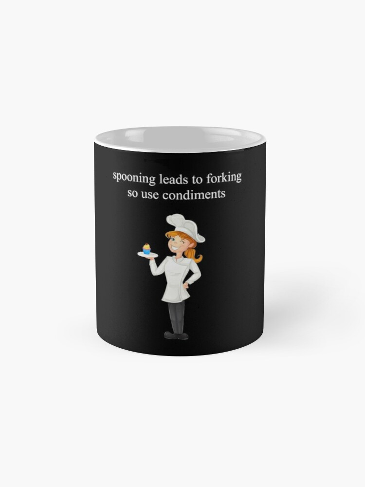 Alternate view of Spooning Leads To Forking Meme Sassy Cook Chef Waitress Quote Mug