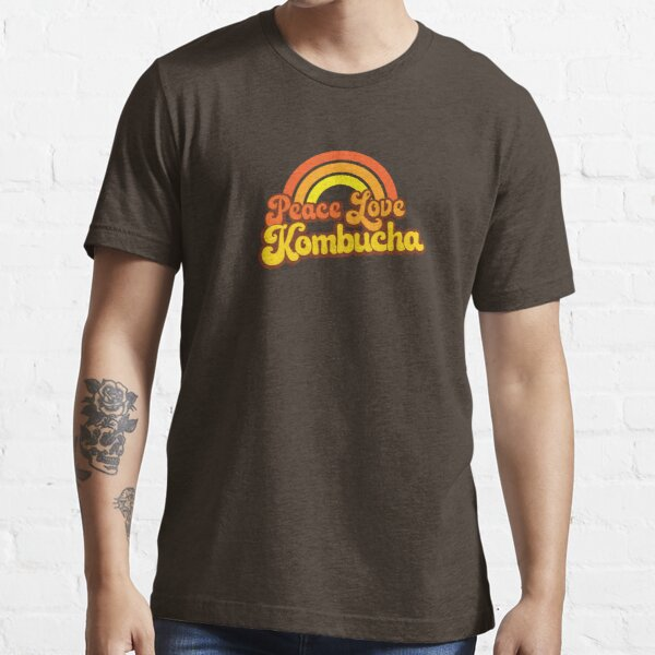 PEACE, LOVE, KOMBUCHA - Retro Rainbow Essential T-Shirt
