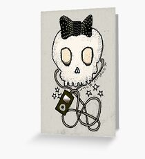 Girly Skull with Black Bow / Die for Music Greeting Card