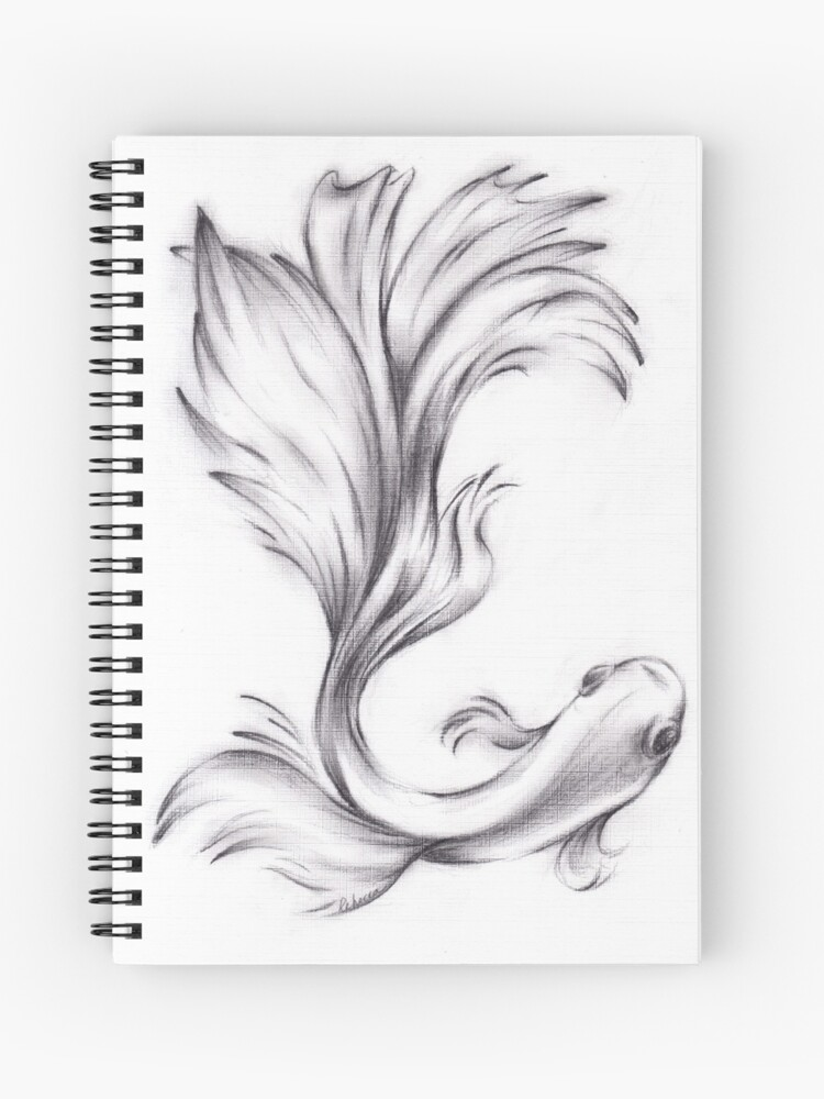 bathing beauty charcoal pencil drawing of a betta fighting fish spiral notebook by tranquilwaters redbubble