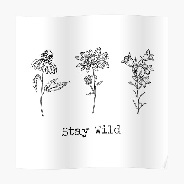 Stay Wild 3 Wildflowers Poster