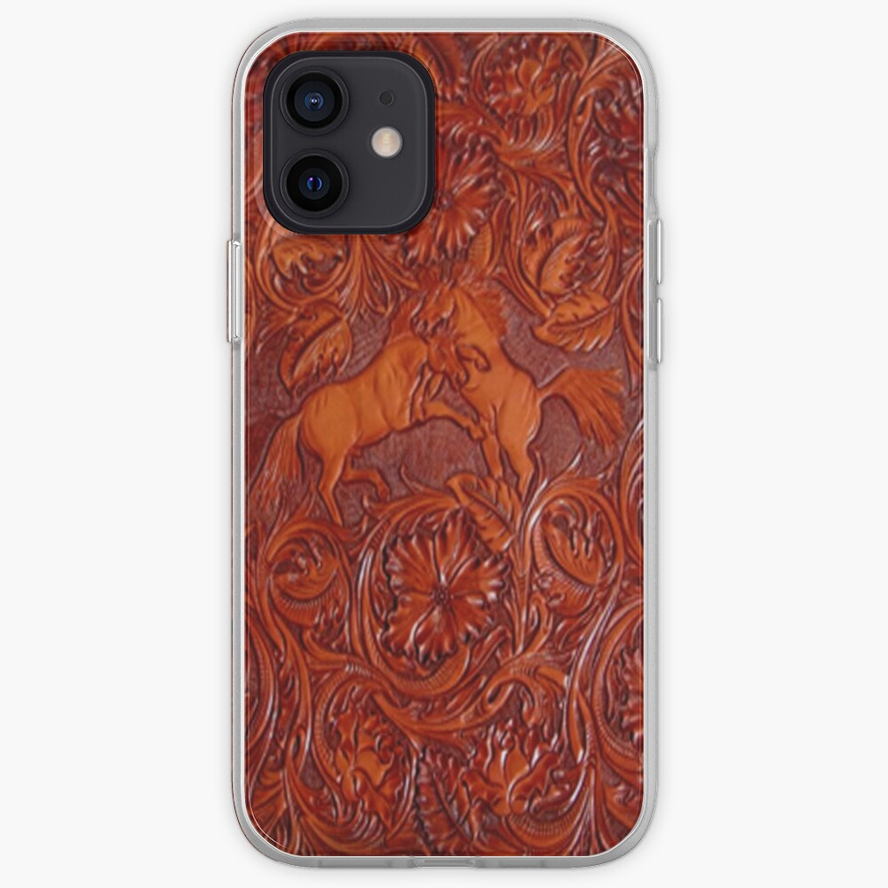 wild horses leather iPhone Case & Cover