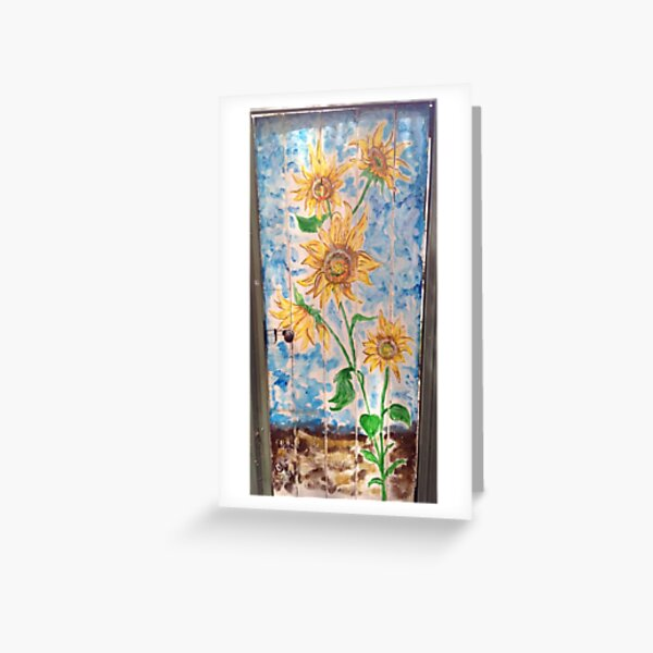 Sunflowers on old wooden Door Greeting Card