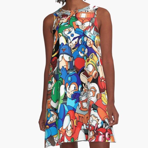 Mega Man 1, 2, and 3 Robot Masters A-Line Dress