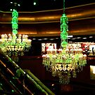 The Amazing Chandeliers at the Trump Taj Mahal, Atlantic City NJ - green tint by Jane Neill-Hancock