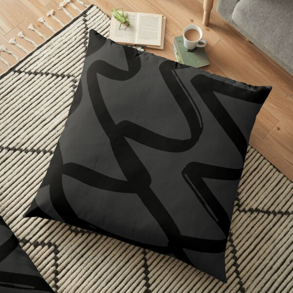 Black and Charocal Zig Zag Floor Pillow