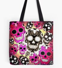 Grunge pink black sugar skulls Tote Bag