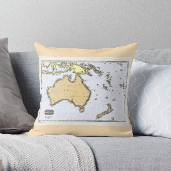 Antique Map of Australasia, Pinkerton, 1818 Throw Pillow