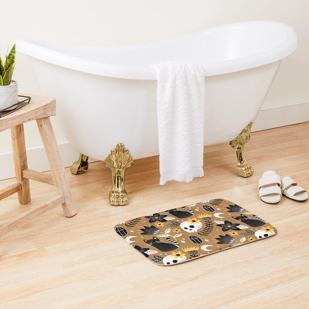 Black Cat And Floral Skull Bath Mat