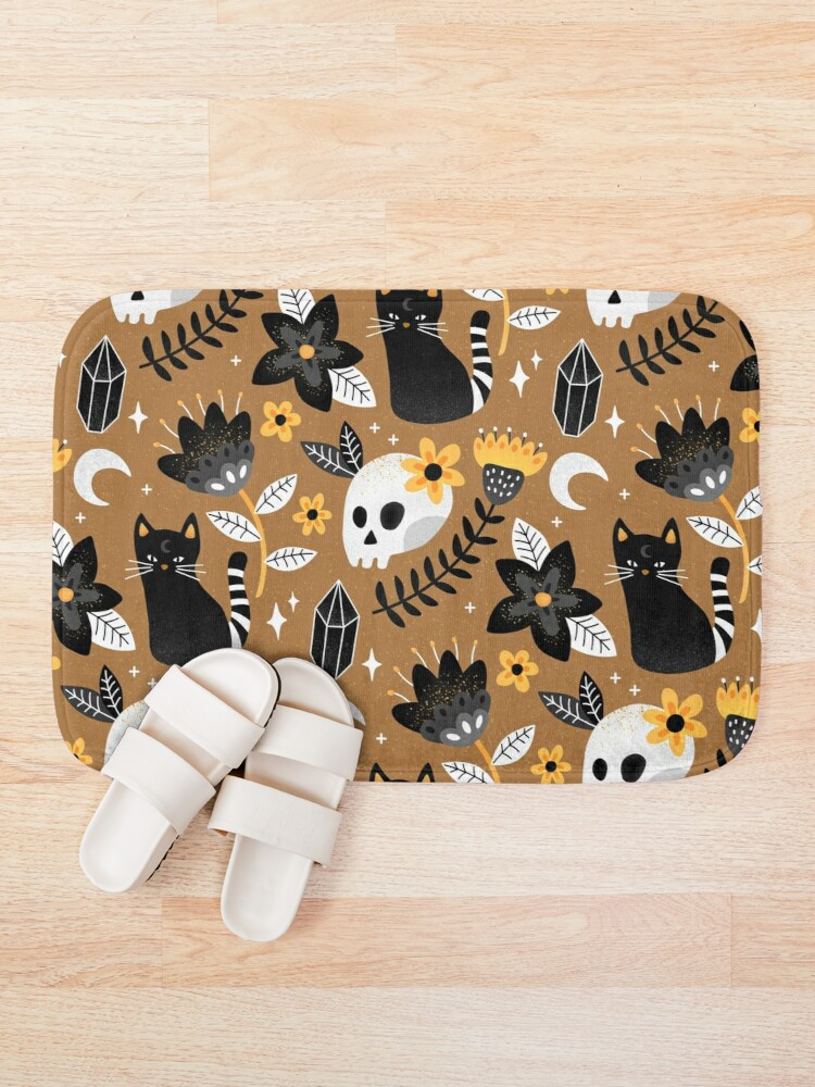 Alternate view of Black Cat And Floral Skull Bath Mat