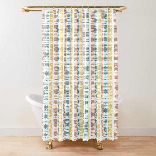 Tricolour Dots & Stripes Shower Curtain