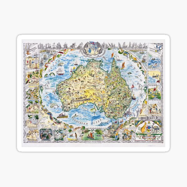 Antique Map of Australia, Patriotism and Resources Sticker