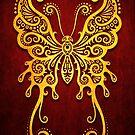 Komplizierter roter und gelber Weinlese-Stammes- Schmetterling von jeff bartels