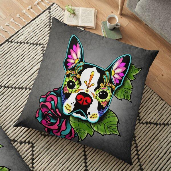 Boston Terrier in Black - Day of the Dead Sugar Skull Dog Floor Pillow