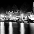 Port Fairy Boat Harbour at Night B&W by Andrew  MCKENZIE