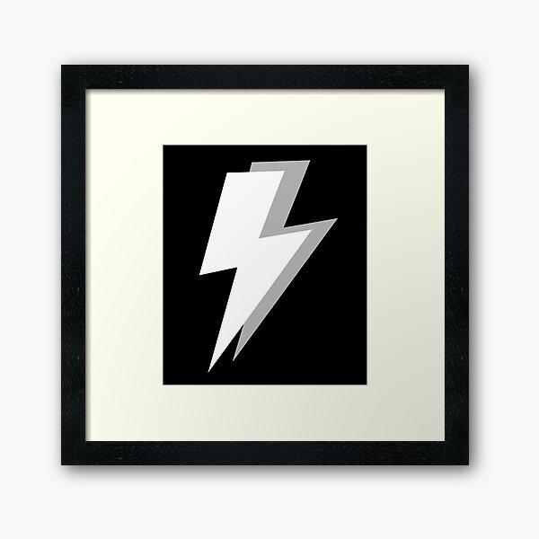 White and Grey Lightning on a Black Background Framed Art Print