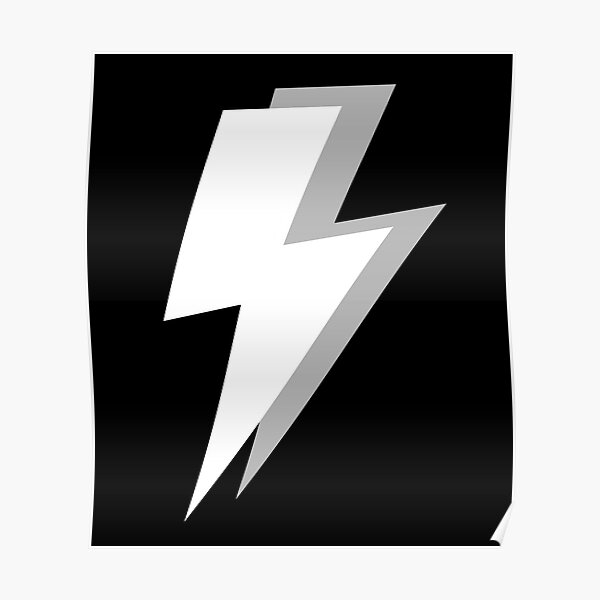White and Grey Lightning on a Black Background Poster