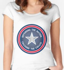 Defending the Nation. Crashing the Crease. Women's Fitted Scoop T-Shirt