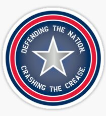 Defending the Nation. Crashing the Crease. Sticker