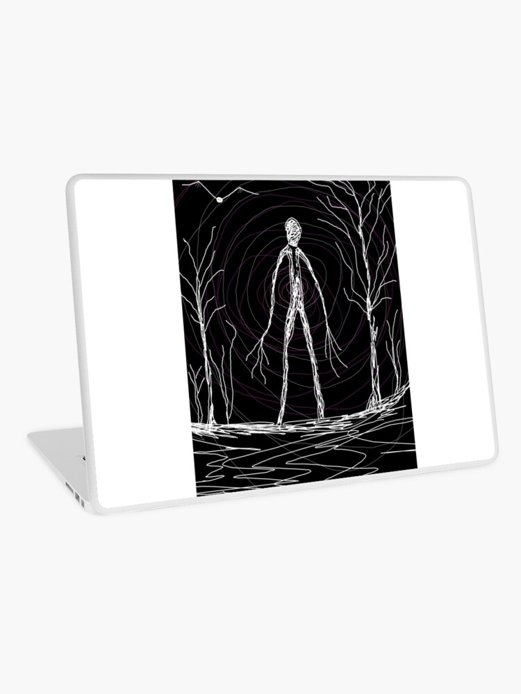 dark creepy slender man in forest on Halloween by Tia Knight | Laptop Skin