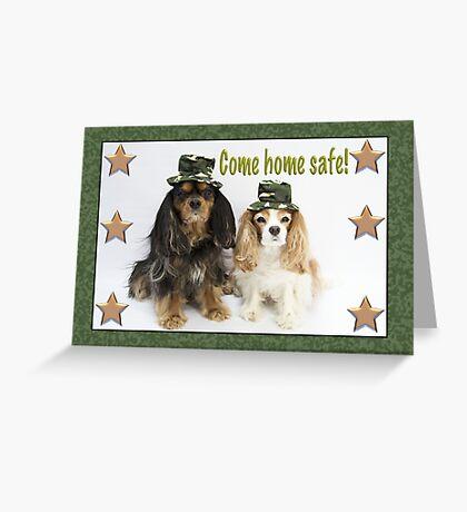 Come Home Soon Card Cavalier King Charles Spaniels Greeting Card