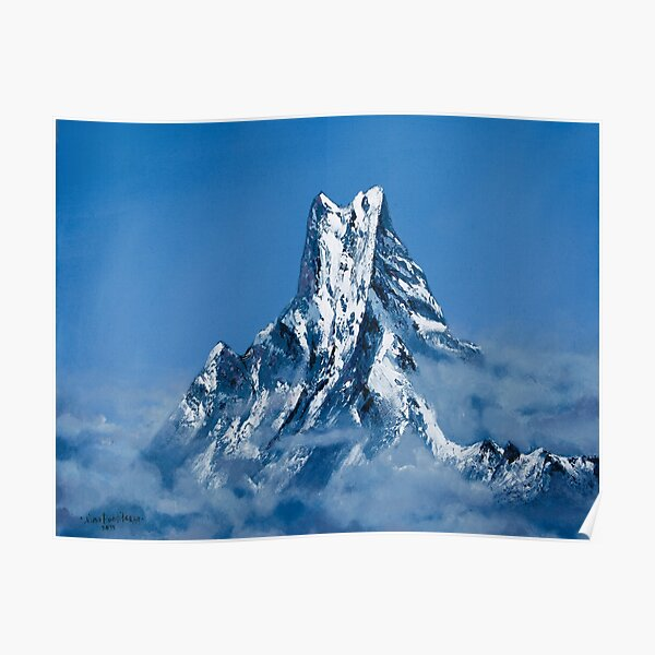 ANNAPURNA NEPAL - MOUNTAIN LANDSCAPE OIL PAINTING Poster