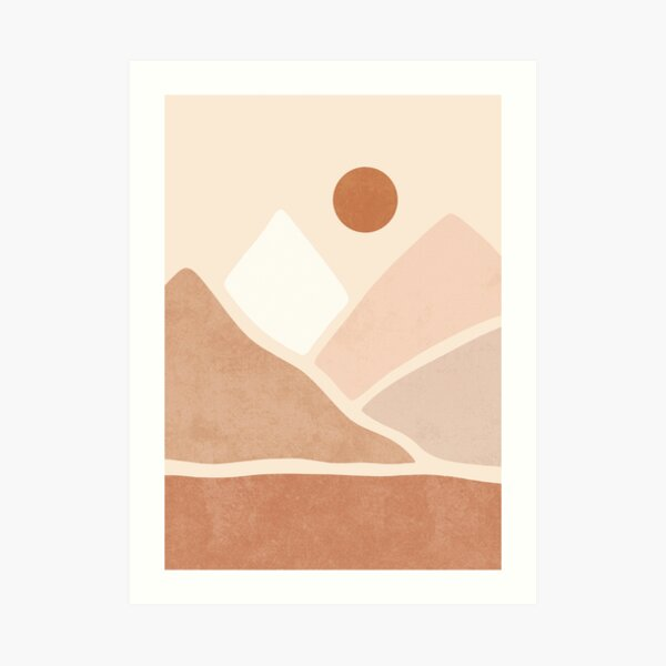 Neutral boho mountain sun Art Print
