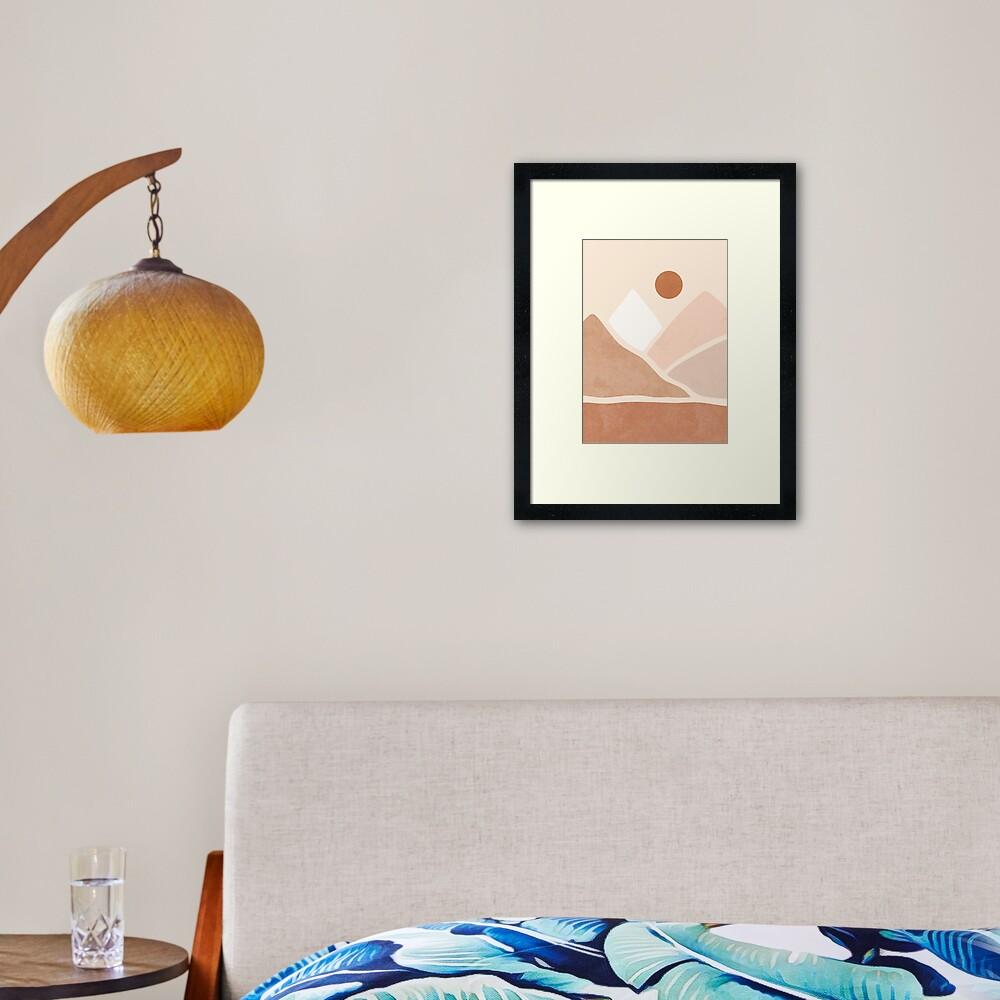 Neutral boho mountain sun Framed Art Print