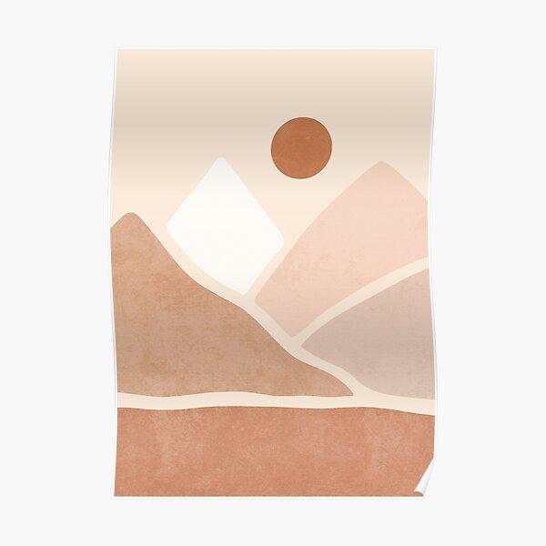 Neutral boho mountain sun Poster