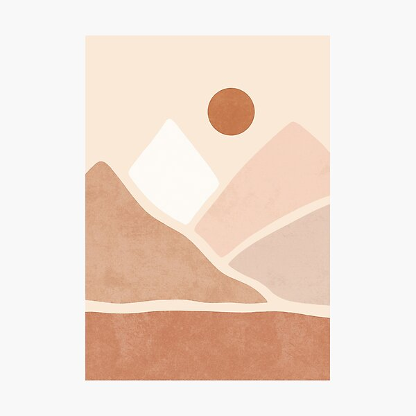 Neutral boho mountain sun Photographic Print