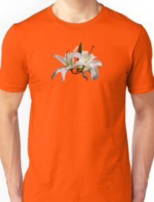 Two Delicate White Lilies Unisex T-Shirt
