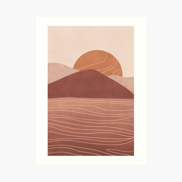 Abstract Landscape at Sunset Art Print