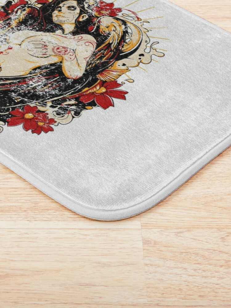 Alternate view of Cinco de Mayo Mexican Tattoo Pin-up Retro Vintage Day of The Dead Bath Mat