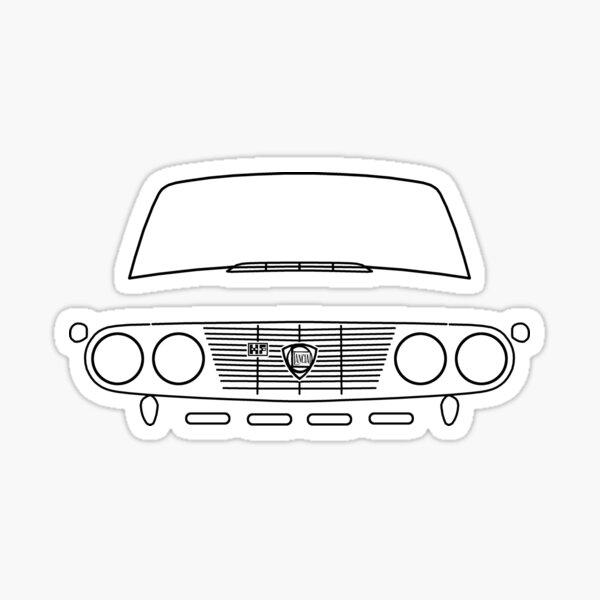 Lancia Fulvia Oldtimer-Umrissgrafik (schwarz) Sticker