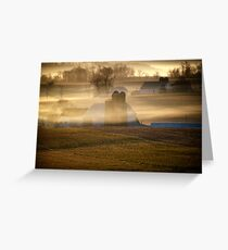 Amish farms in Morning Mist in Lancaster Co PA Greeting Card