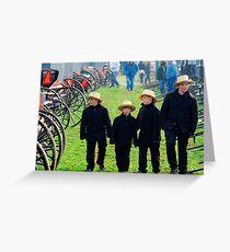 Amish Boys Walking Through Mudsale Greeting Card